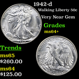 1942-d Walking Liberty Half Dollar 50c Grades Choice+ Unc
