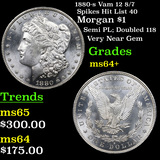 1880-s Vam 12 8/7 Spikes Hit List 40 Morgan $1 Grades Choice+ Unc