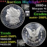 ***Auction Highlight*** 1880-s Morgan Dollar $1 Graded ms64+ DMPL By SEGS (fc)