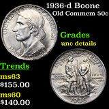 1936-d Boone Old Commem Half Dollar 50c Grades Unc Details