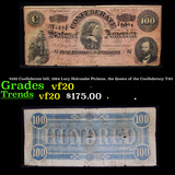$100 Confederate bill, 1864 Lucy Holcombe Pickens, the Queen of the Confederacy T-65 Grades vf, very