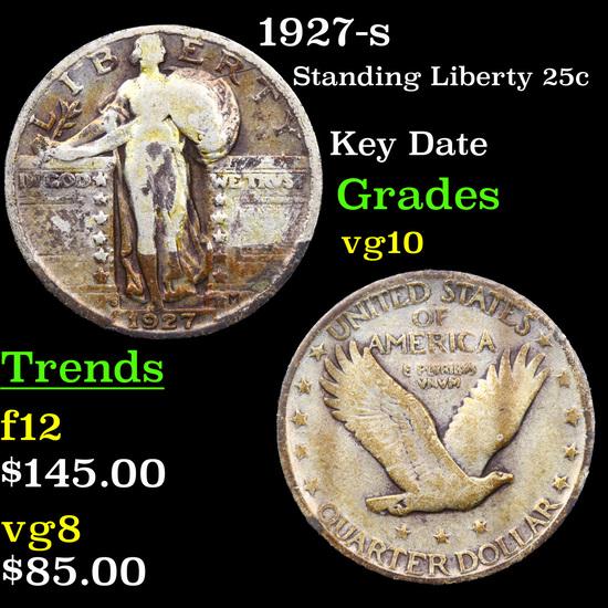 1927-s Standing Liberty Quarter 25c Grades vg+