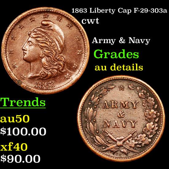 1863 Liberty Cap F-29-303a Civil War Token 1c Grades AU Details