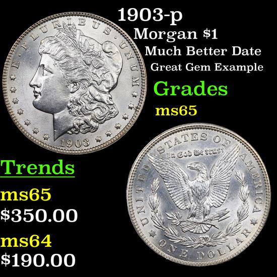 1903-p Morgan Dollar $1 Grades GEM Unc