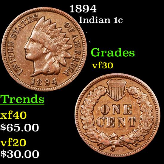 1894 Indian Cent 1c Grades vf++