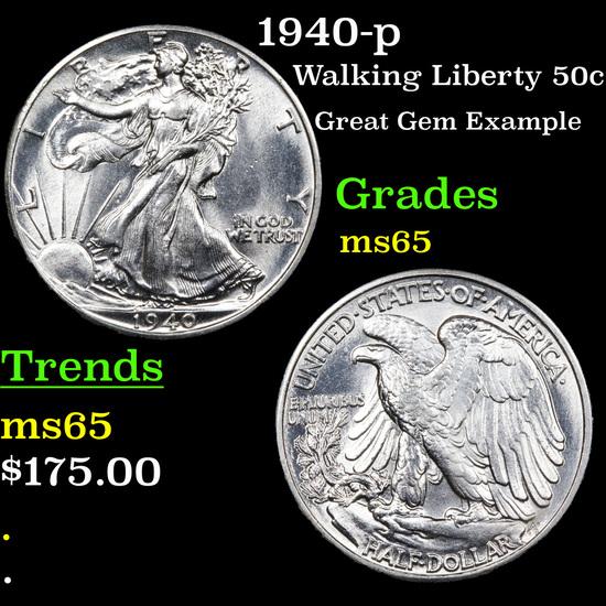 1940-p Walking Liberty Half Dollar 50c Grades GEM Unc