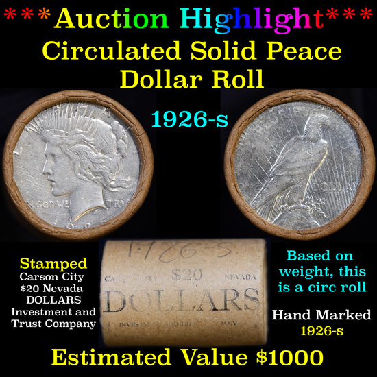 ***Auction Highlight*** Full solid Date 1926-s Peace silver dollar roll, 20 coin (fc)