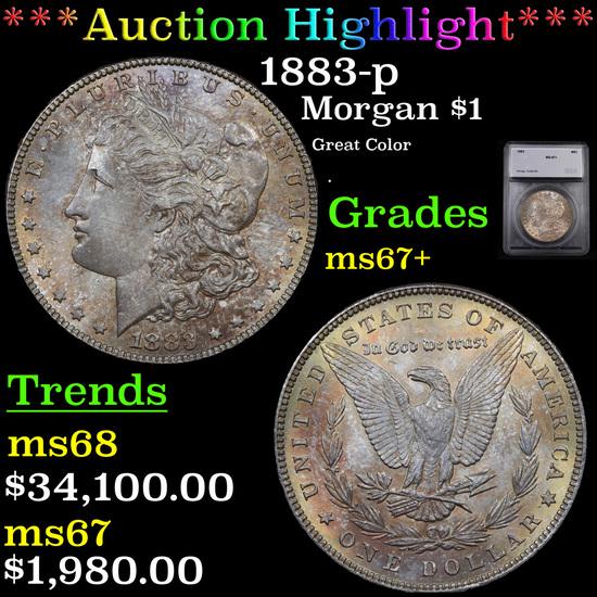 ***Auction Highlight*** 1883-p Morgan Dollar $1 Graded ms67+ By SEGS (fc)