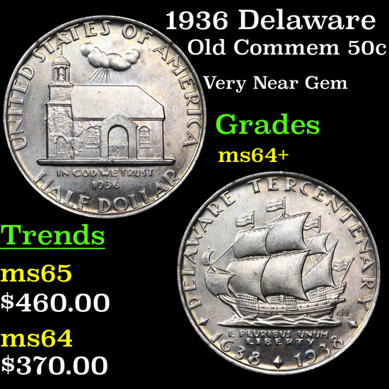 1936 Delaware Old Commem Half Dollar 50c Grades Choice+ Unc
