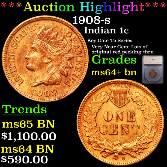 ***Auction Highlight*** 1908-s Indian Cent 1c Graded ms64+ bn By SEGS (fc)