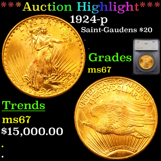 ***Auction Highlight*** 1924-p Saint-Gaudens $20 Gold Double Eagle Graded ms67 By SEGS (fc)