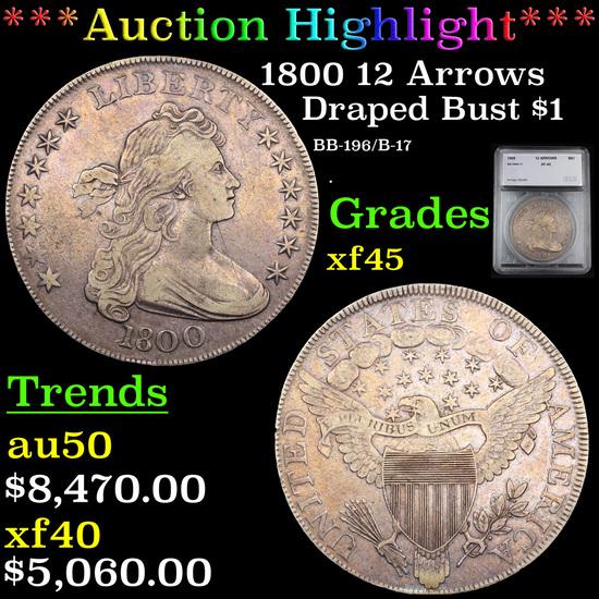 ***Auction Highlight*** 1800 BB-192 B-19  Draped Bust Dollar $1 Graded xf45 By SEGS (fc)