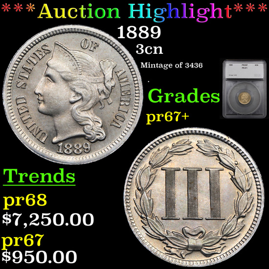 Proof ***Auction Highlight*** 1889 Three Cent Copper Nickel 3cn Graded pr67+ By SEGS (fc)