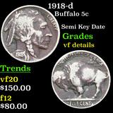 1918-d Buffalo Nickel 5c Grades vf details