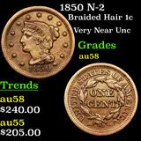 1850 N-2 Braided Hair Large Cent 1c Grades Choice AU/BU Slider