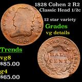 1828 Cohen 2 R2 Classic Head half cent 1/2c Grades vg details