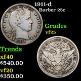 1911-d Barber Quarter 25c Grades vf+