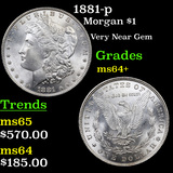 1881-p Morgan Dollar $1 Grades Choice+ Unc