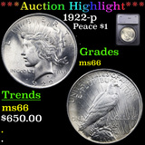 ***Auction Highlight*** 1922-p Peace Dollar $1 Graded ms66 By SEGS (fc)