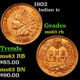 1902 Indian Cent 1c Grades Select Unc RB