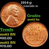 1914-p Lincoln Cent 1c Grades Select Unc BN