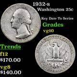 1932-s Washington Quarter 25c Grades vg+