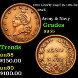 1863 Liberty Cap f-15-319a R2 Civil War Token 1c Grades Choice AU