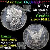 ***Auction Highlight*** 1898-p Morgan Dollar $1 Graded ms64+ DMPL
