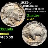 1935-p Buffalo Nickel 5c Grades GEM Unc