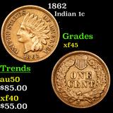 1862 Indian Cent 1c Grades xf+