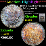 ***Auction Highlight*** 1887-p Rainbow Toned Morgan Dollar $1 Graded ms65 By SEGS (fc)