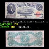 1917 $2 Large Size Legal Tender Note FR-60 Thomas Jefferson Grades f, fine