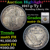 ***Auction Highlight*** 1917-p Ty I Standing Liberty Quarter 25c Graded ms64+ fh By SEGS (fc)