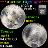***Auction Highlight*** 1923-p Peace Dollar $1 Graded ms66+ By SEGS (fc)