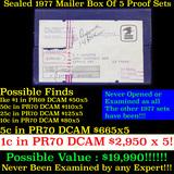 ***Auction Highlight*** Original sealed box 5- 1977 United States Mint Proof Sets Grades (fc)