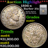 ***Auction Highlight*** 1896-s Barber Quarter 25c Graded ms63+ By SEGS (fc)