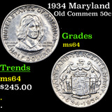 1934 Maryland Old Commem Half Dollar 50c Grades Choice Unc