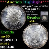 ***Auction Highlight*** 1878-p 8tf vam 4 I3 R4 Morgan Dollar $1 Graded ms64+ By SEGS (fc)
