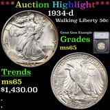 ***Auction Highlight*** 1934-d Walking Liberty Half Dollar 50c Graded ms65 By SEGS (fc)