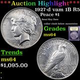 ***Auction Highlight*** 1927-d vam 1B R5 Peace Dollar $1 Graded Choice Unc By USCG (fc)