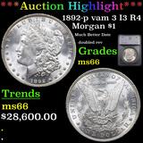 ***Auction Highlight*** 1892-p vam 3 I3 R4 Morgan Dollar $1 Graded ms66 By SEGS (fc)