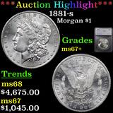 ***Auction Highlight*** 1881-s Morgan Dollar $1 Graded ms67+ By SEGS (fc)