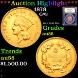 ***Auction Highlight*** 1878 Three Dollar Gold 3 Graded Choice AU/BU Slider By USCG (fc)