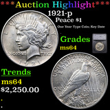***Auction Highlight*** 1921-p Peace Dollar $1 Graded ms64 By SEGS (fc)