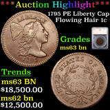 ***Auction Highlight*** 1795 PE Liberty Cap Flowing Hair large cent 1c Graded ms63 bn By SEGS (fc)