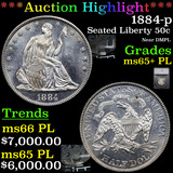 ***Auction Highlight*** 1884-p Seated Half Dollar 50c Graded ms65+ PL By SEGS (fc)