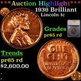 Proof ***Auction Highlight*** 1936 Brilliant Lincoln Cent 1c Graded pr65 rd By SEGS (fc)