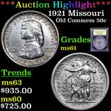 ***Auction Highlight*** 1921 Missouri Old Commem Half Dollar 50c Graded BU+ By USCG (fc)