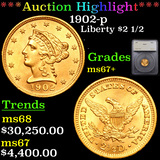 ***Auction Highlight*** 1902-p Gold Liberty Quarter Eagle $2 1/2 Graded ms67+ By SEGS (fc)