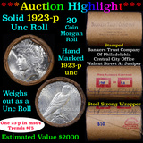 ***Auction Highlight*** Full solid date 1923-p Peace silver $1 roll, 20 coins Unc (fc)